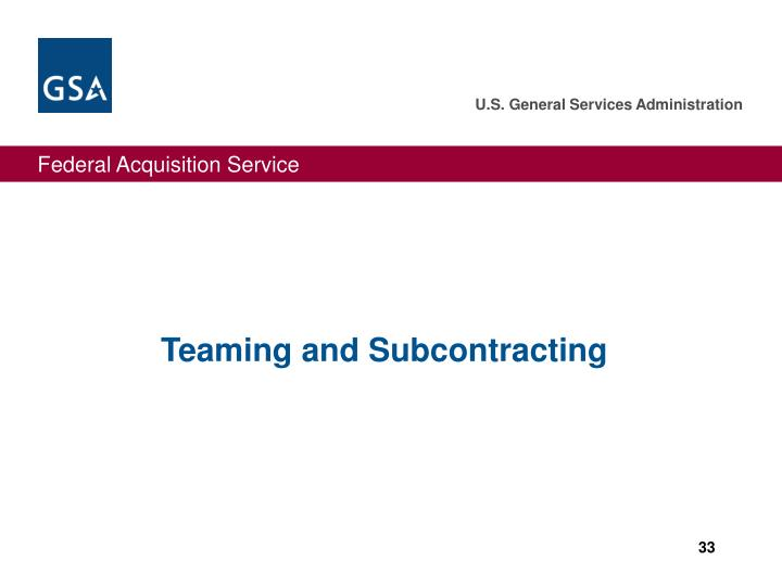 Teaming and Subcontracting