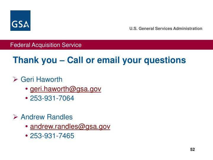 Thank you – Call or email your questions