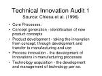 technical innovation audit 1 source chiesa et al 1996