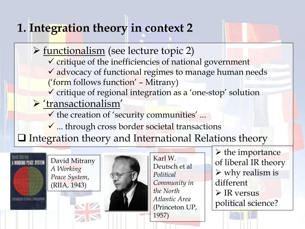 1. Integration theory in context 2