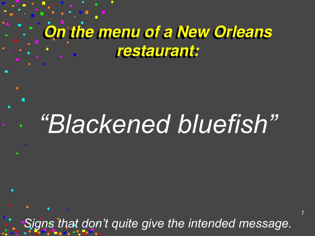 on the menu of a new orleans restaurant l.