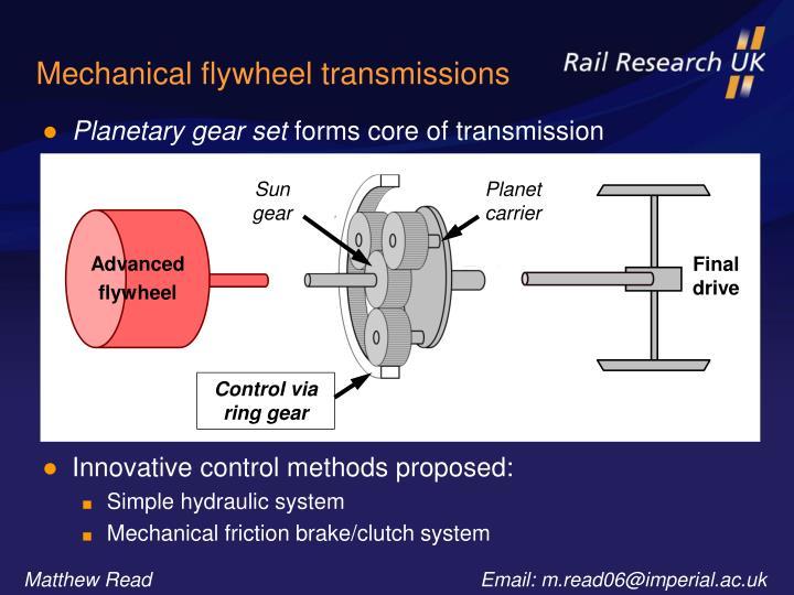 Mechanical flywheel transmissions