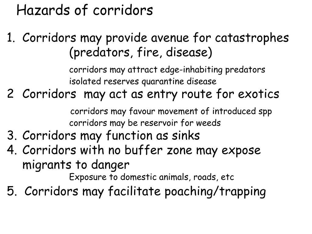Hazards of corridors