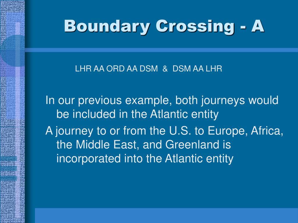 Boundary Crossing - A