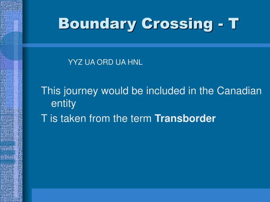 Boundary Crossing - T