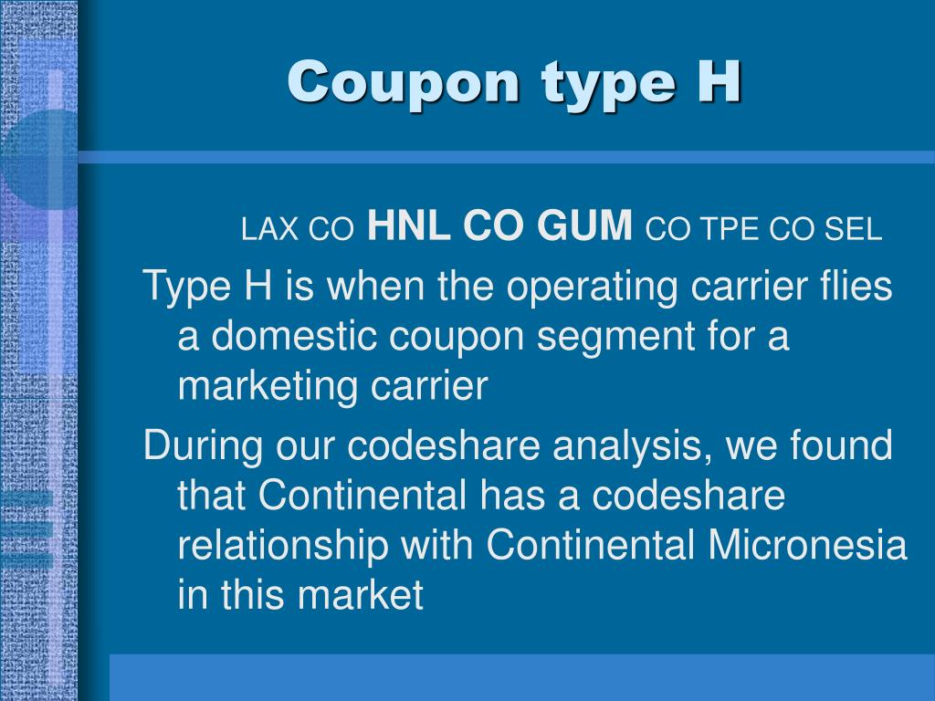Coupon type H
