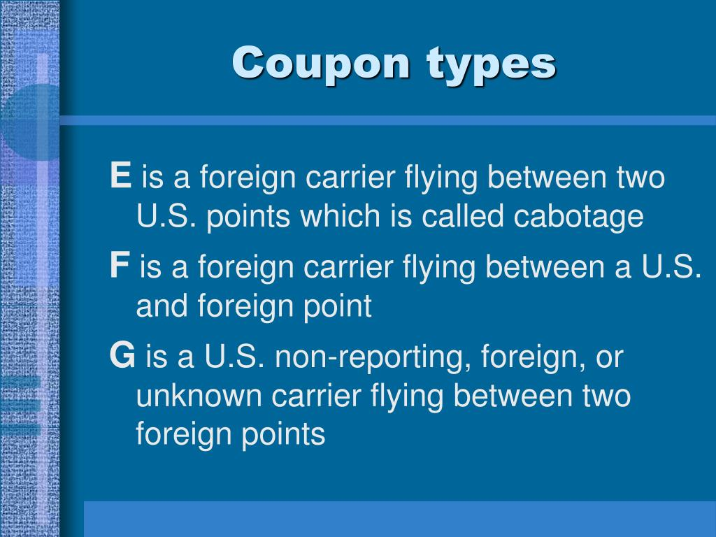 Coupon types