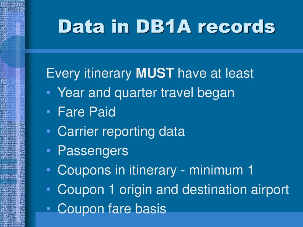 Data in DB1A records
