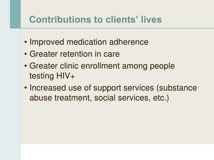 Contributions to clients' lives