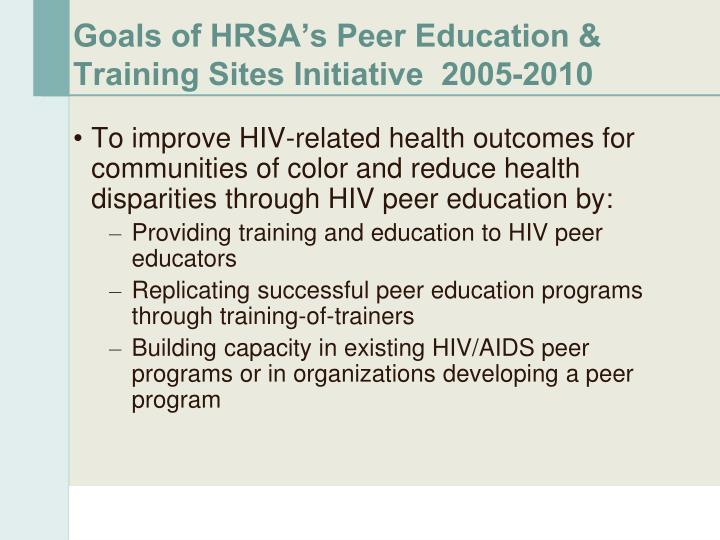 Goals of HRSA's Peer Education & Training Sites Initiative  2005-2010