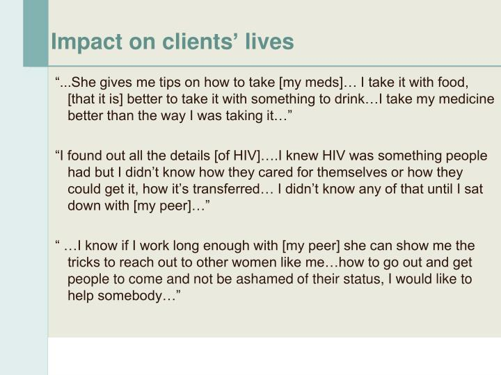 Impact on clients' lives