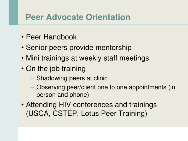 Peer Advocate Orientation