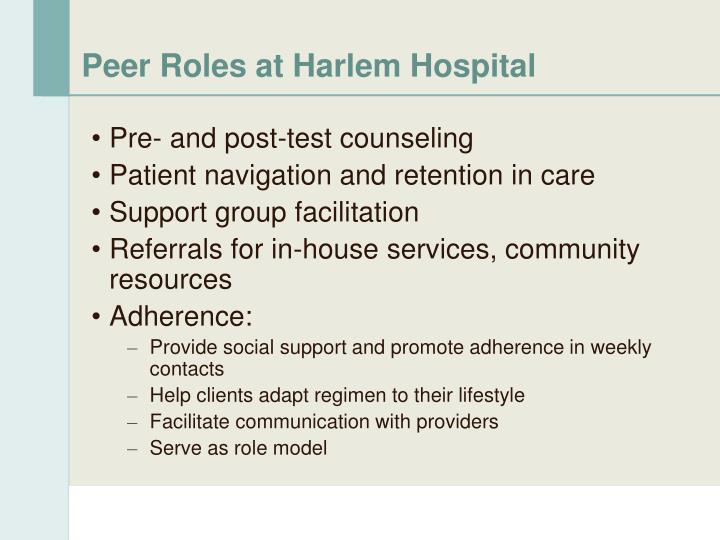 Peer Roles at Harlem Hospital