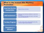what is the instant win mystery promotion
