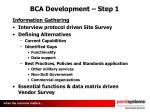 bca development step 1