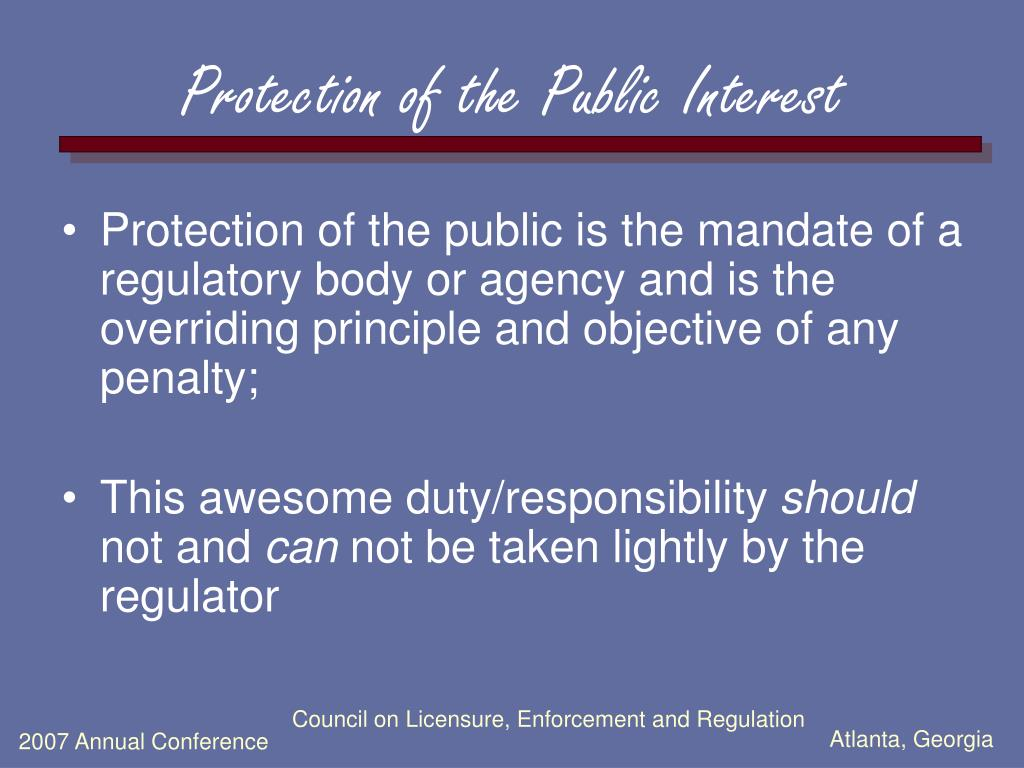 Protection of the Public Interest