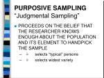 purposive sampling judgmental sampling