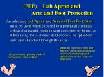 ppe lab apron and arm and foot protection