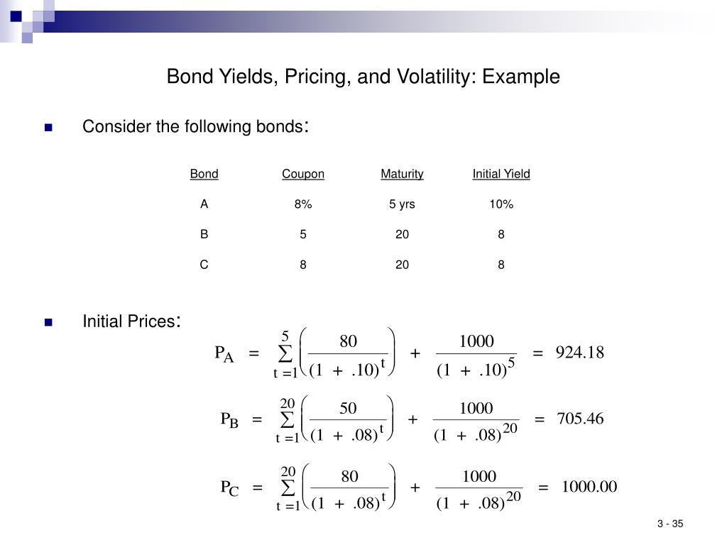 Bond Yields, Pricing, and Volatility: Example