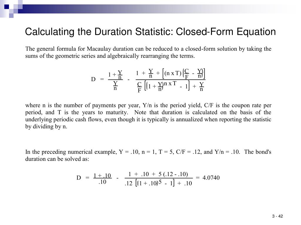 Calculating the Duration Statistic: Closed-Form Equation
