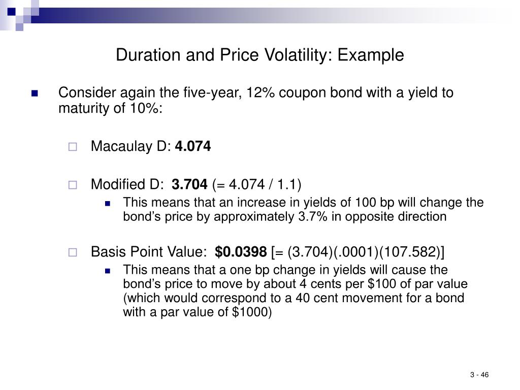 Duration and Price Volatility: Example