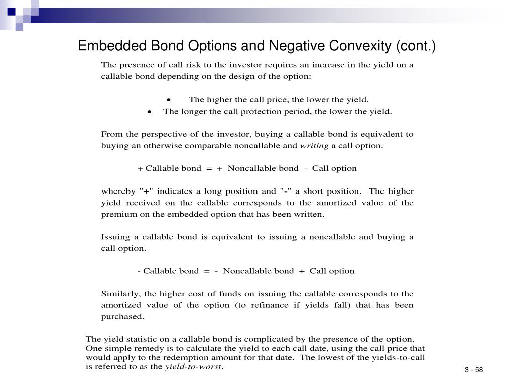 Embedded Bond Options and Negative Convexity (cont.)