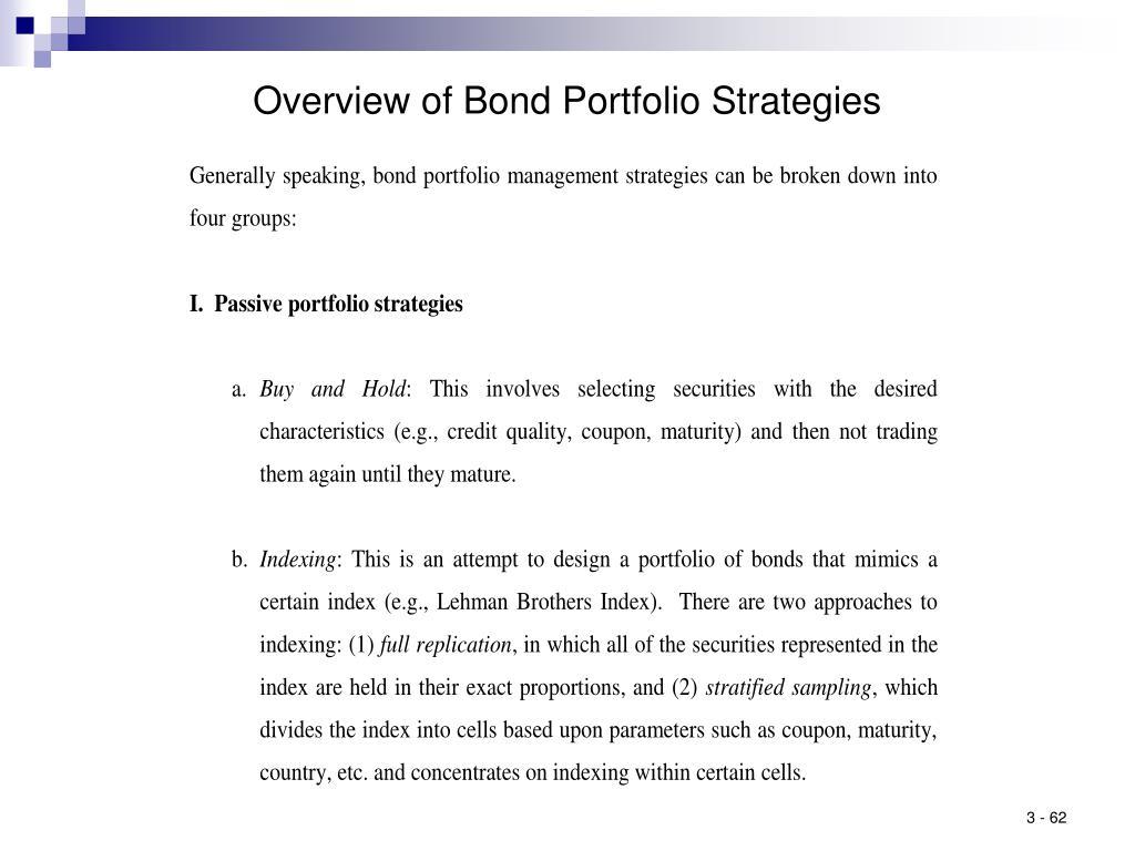 Overview of Bond Portfolio Strategies