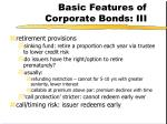 basic features of corporate bonds iii