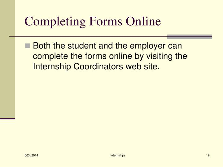 Completing Forms Online