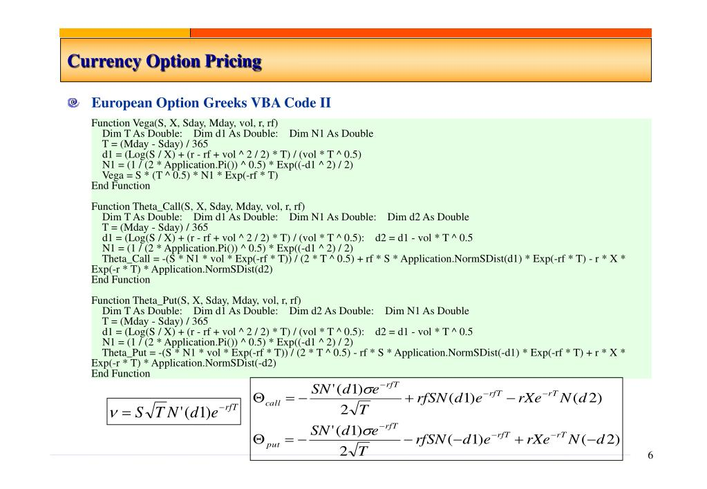 Currency Option Pricing