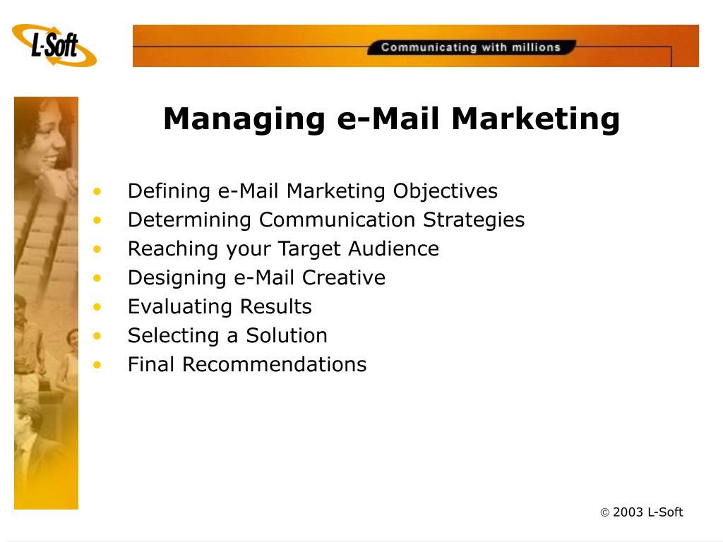 Managing e-Mail Marketing