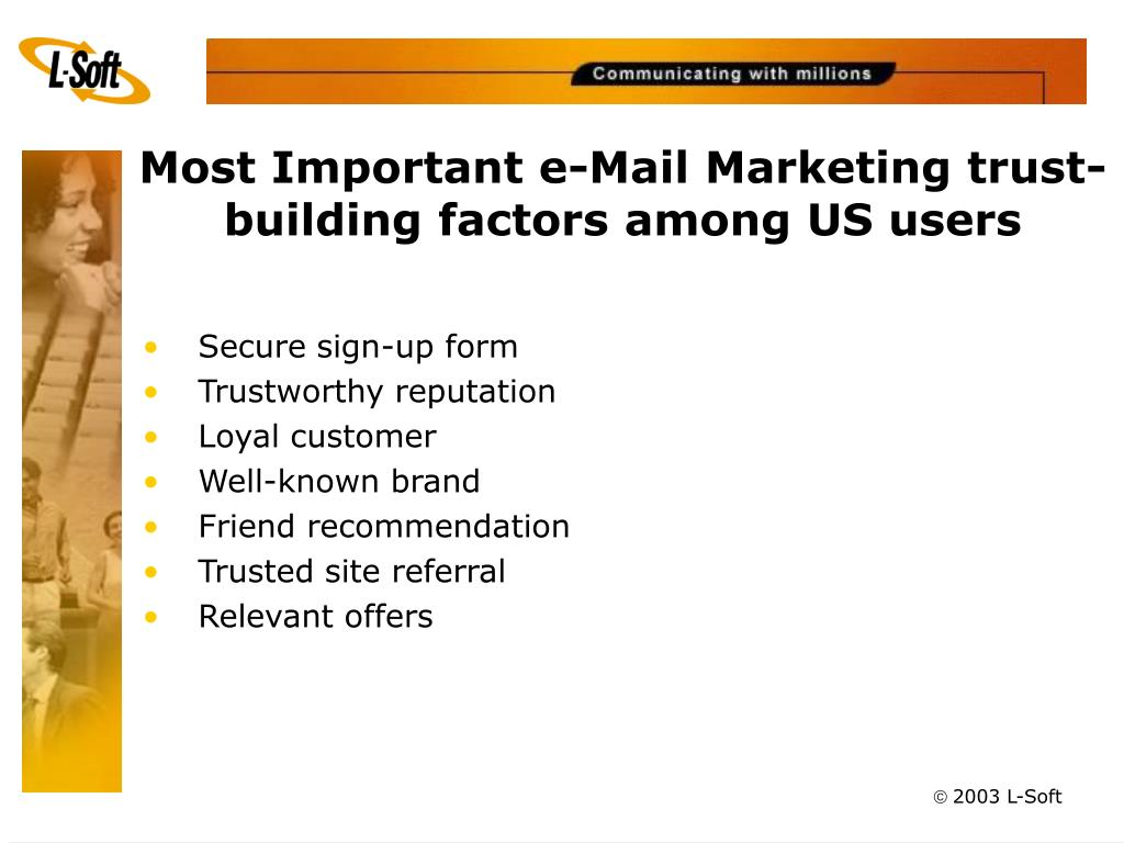 Most Important e-Mail Marketing trust-building factors among US users