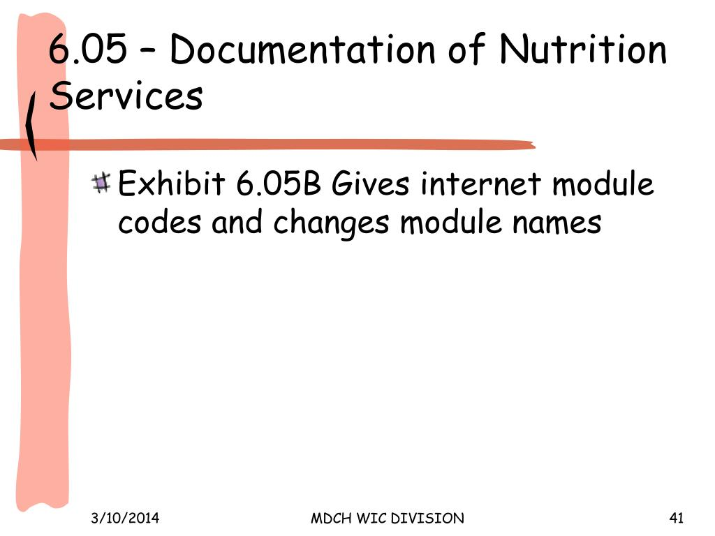 6.05 – Documentation of Nutrition Services