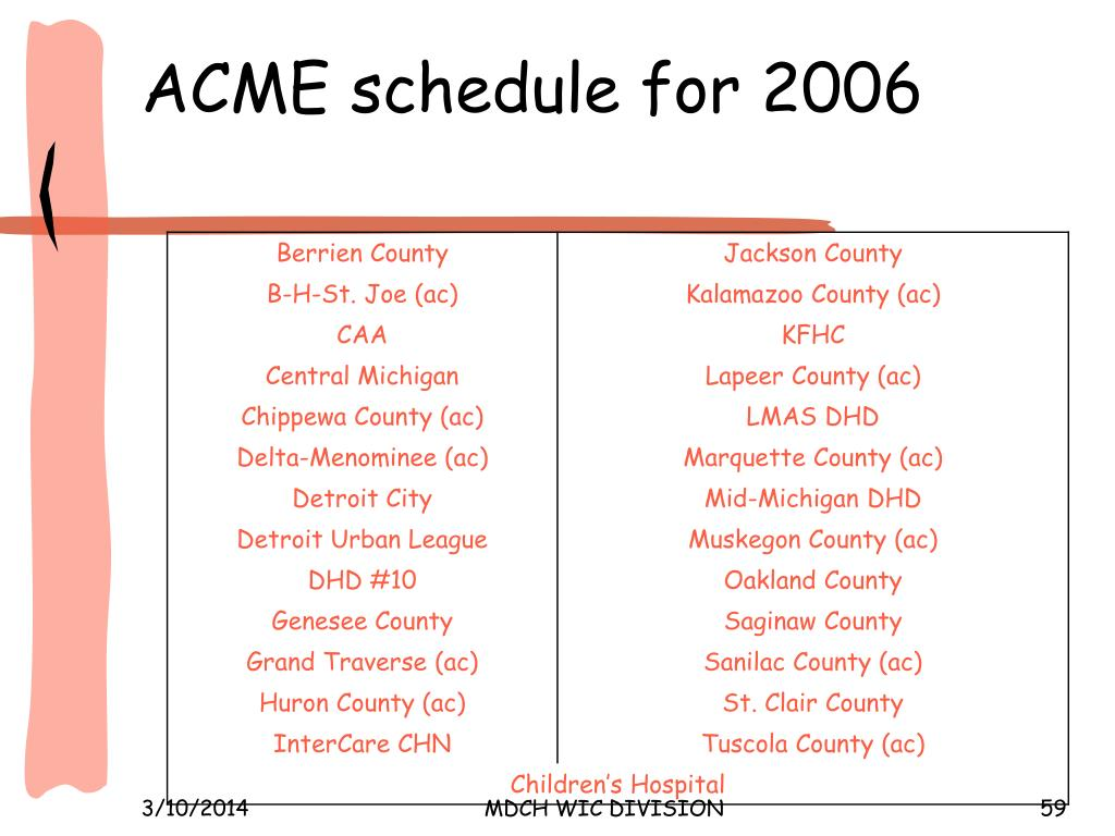ACME schedule for 2006