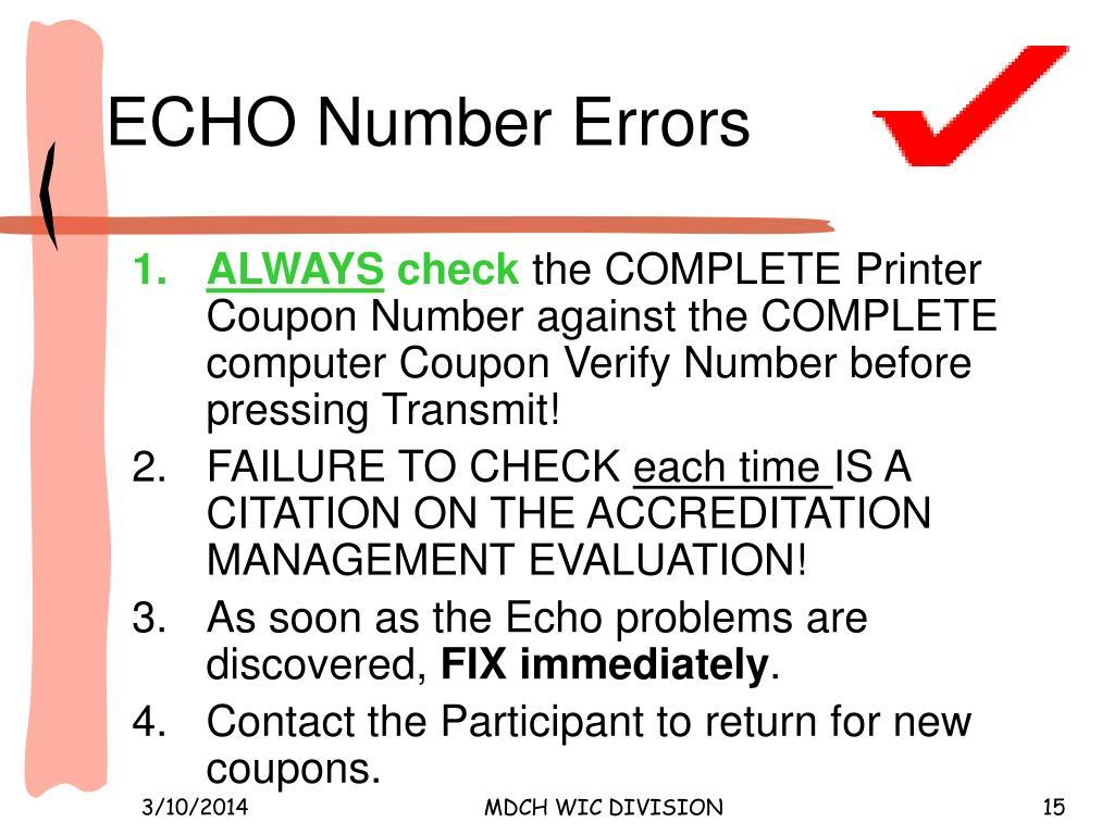 ECHO Number Errors