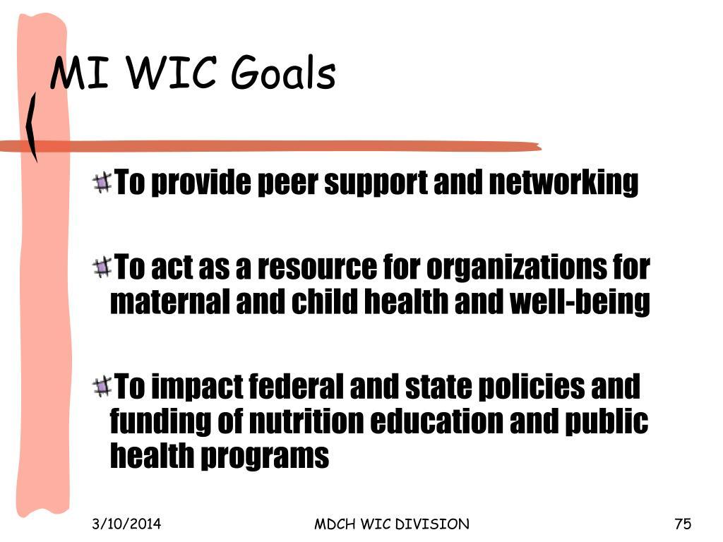 MI WIC Goals