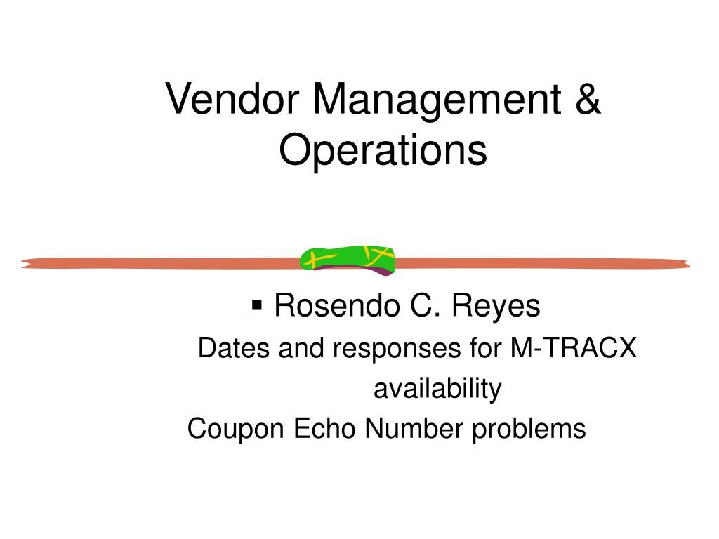 Vendor Management & Operations