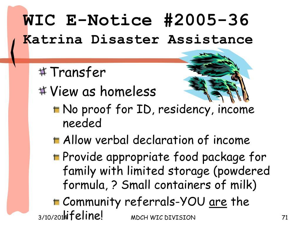 WIC E‑Notice #2005‑36