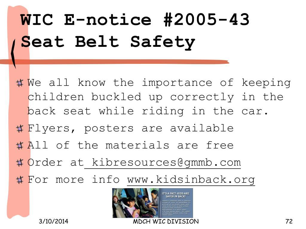WIC E‑notice #2005‑43 Seat Belt Safety