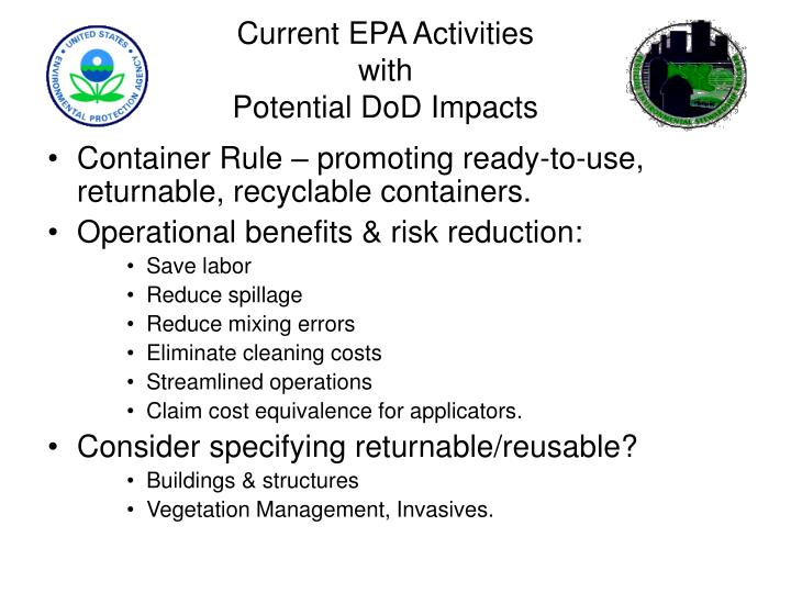 Current epa activities with potential dod impacts