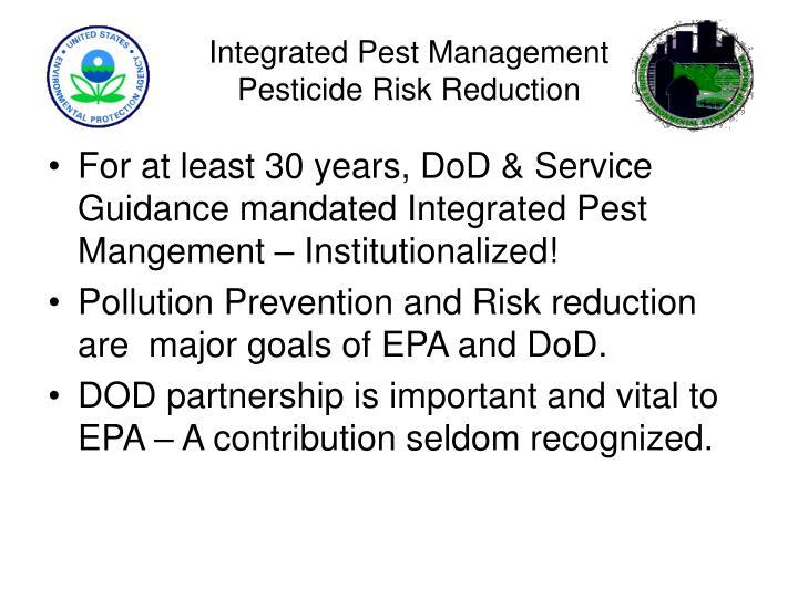 Integrated pest management pesticide risk reduction