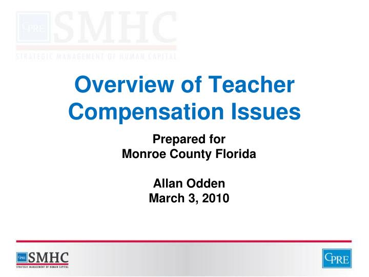 overview of teacher compensation issues n.