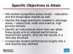 specific objectives to attain