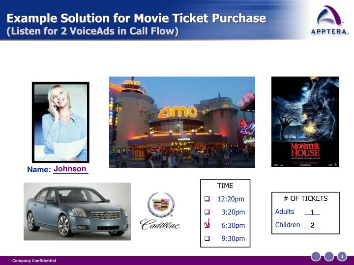 Example solution for movie ticket purchase listen for 2 voiceads in call flow