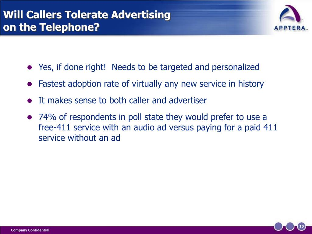 Will Callers Tolerate Advertising