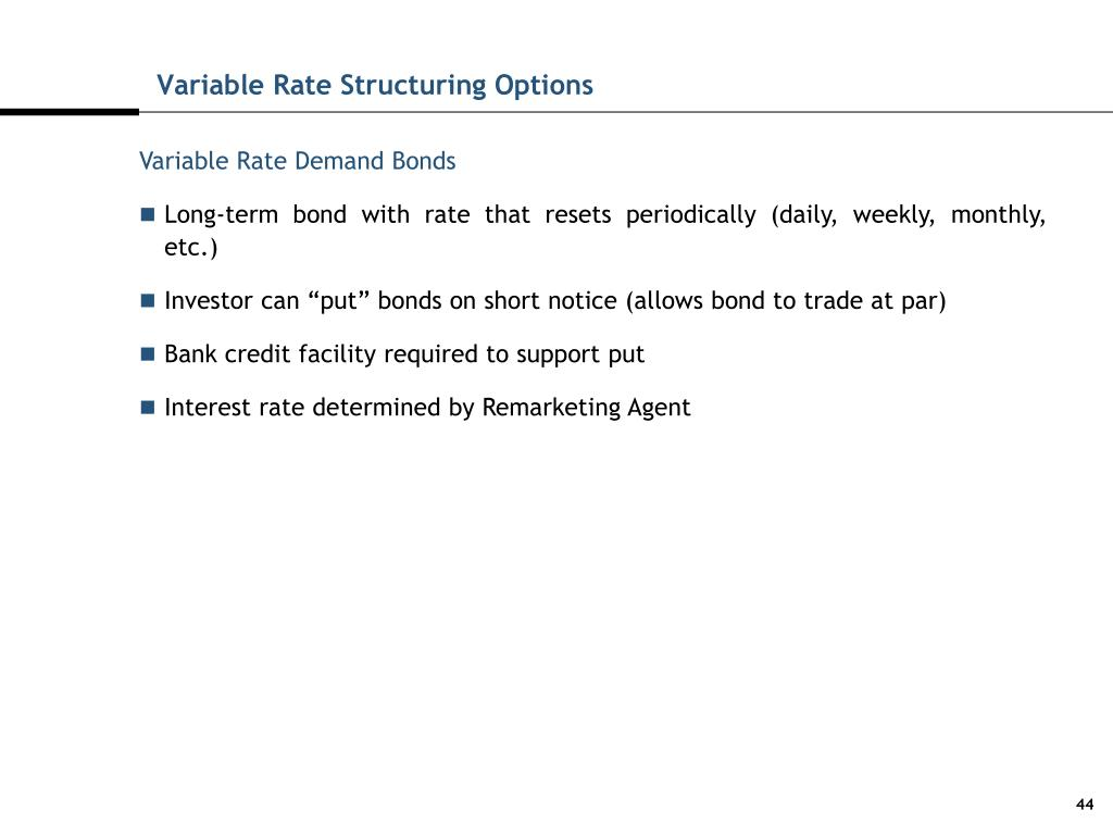 Variable Rate Structuring Options