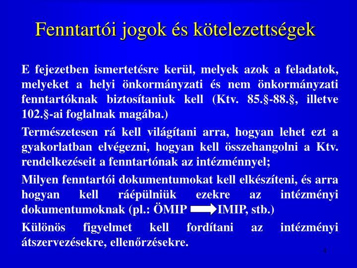 Fenntartói jogok és kötelezettségek