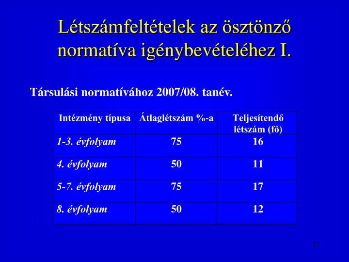 Létszámfeltételek az ösztönző normatíva igénybevételéhez I.
