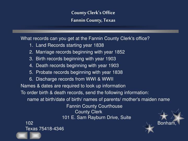 County clerk s office fannin county texas