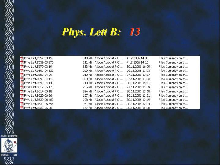 Phys. Lett B: